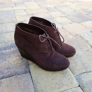 Cole Haan Shoes - Cole Haan Halley Brown Suede Wedge Ankle Booties